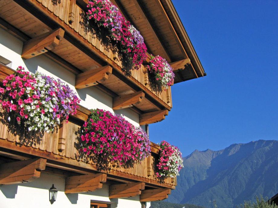 Vom Balkon aus die herrliche Bergwelt bewundern