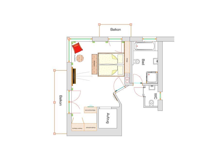Und wohnzimmer schlafzimmer im obergeschoss mit ankleide und bergsicht