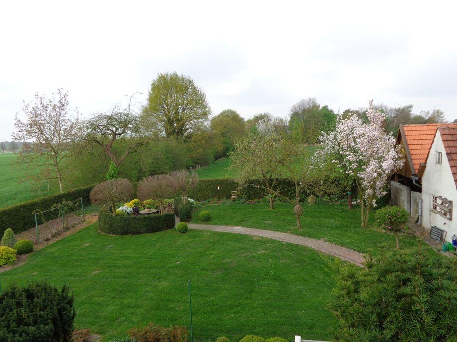 Blick in den Garten und auf den Schuppen