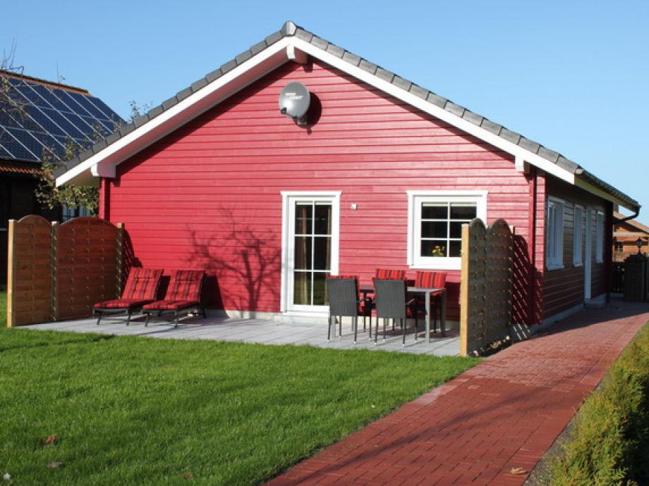 Außenaufnahme schwedisches Blockhaus auf dem Ferienhof Edgar und Katja Muhl