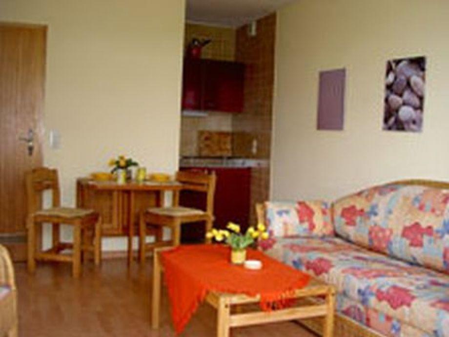 Das Wohnzimmer der Ferienwohnung Typ A