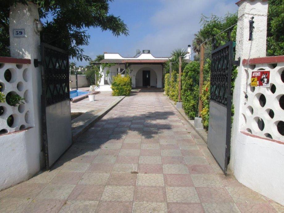 Einfahrt zu Terrasse, Garten und Haus