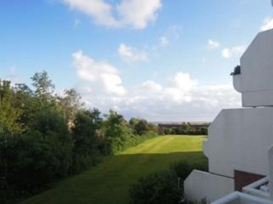 Der Blick vom Balkon auf die Grünanlage des Hauses.