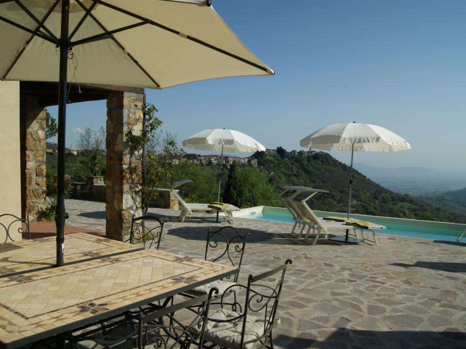 Terasse mit Pool und Blick aufs Dorf Roccatederighi
