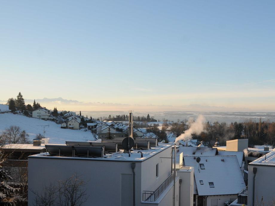 Blick von der Terrasse im Winter