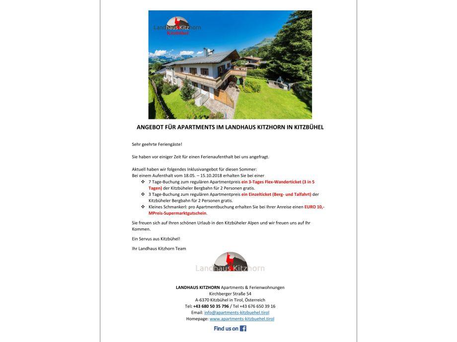 """Offer apartment """"Landhaus Kitzhorn"""" Kitzbuehel Tyrol"""