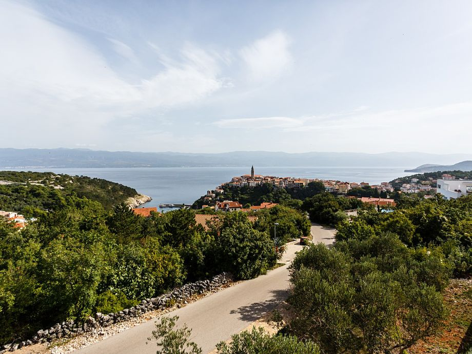 View on the sea and the old town Vrbnik