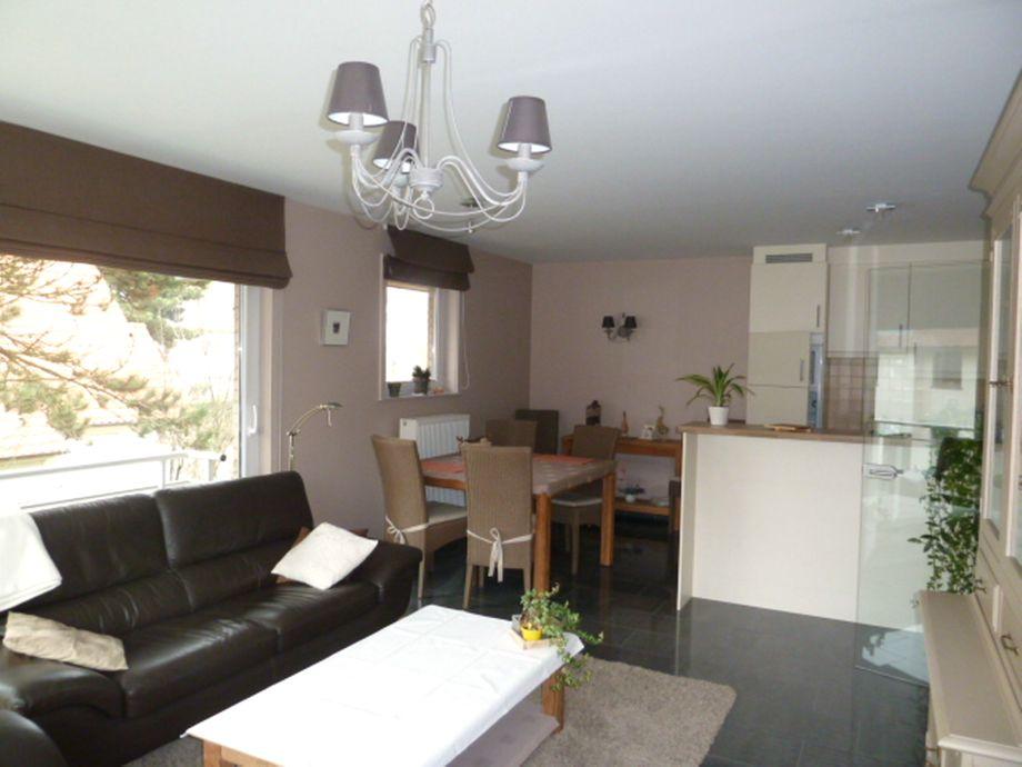 Das Wohnzimmer mit angrenzender Küchenzeile