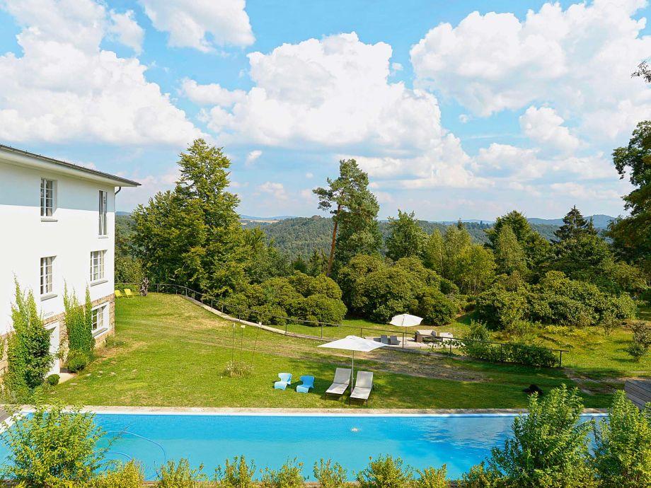 pool overlooking garden