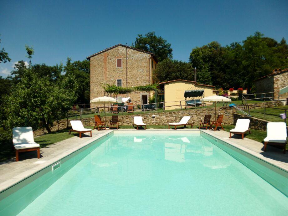 Blick auf die Villa vom Pool.