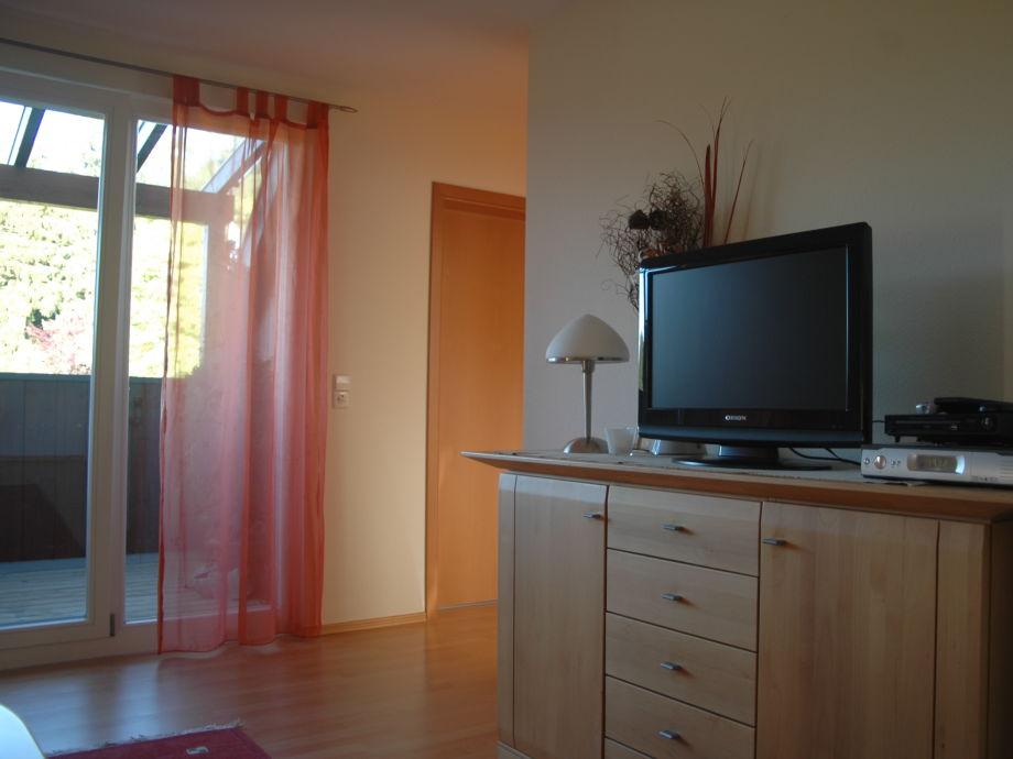 """Ferienwohnung """"Waldwinkel"""" - Wohnzimmer mit Dachbalkon"""