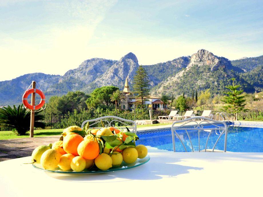 Pool und Garten mit Ausblick auf die Wunderschönen Berge