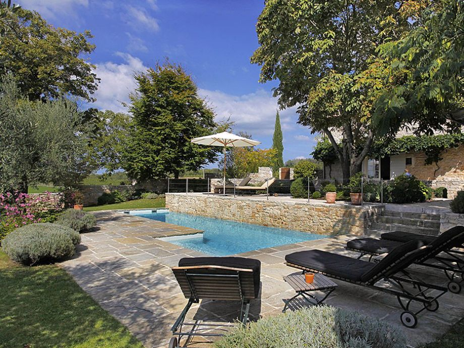 the outside area with pool