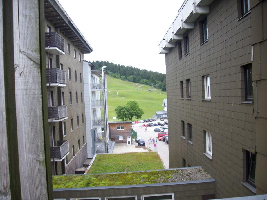 Ausblick vom Balkon Richtung Skipiste