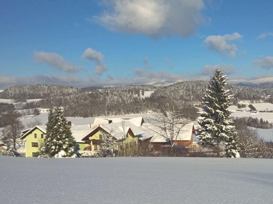 Blick auf unseren Hof im Winter