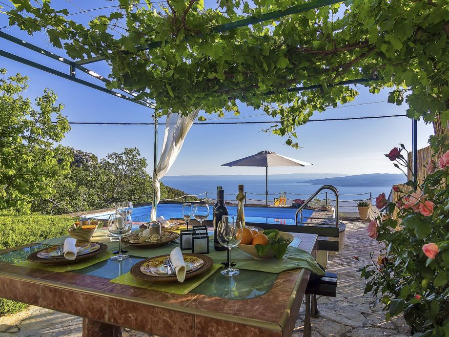 Überdachte Terrasse mit Esstisch am Pool