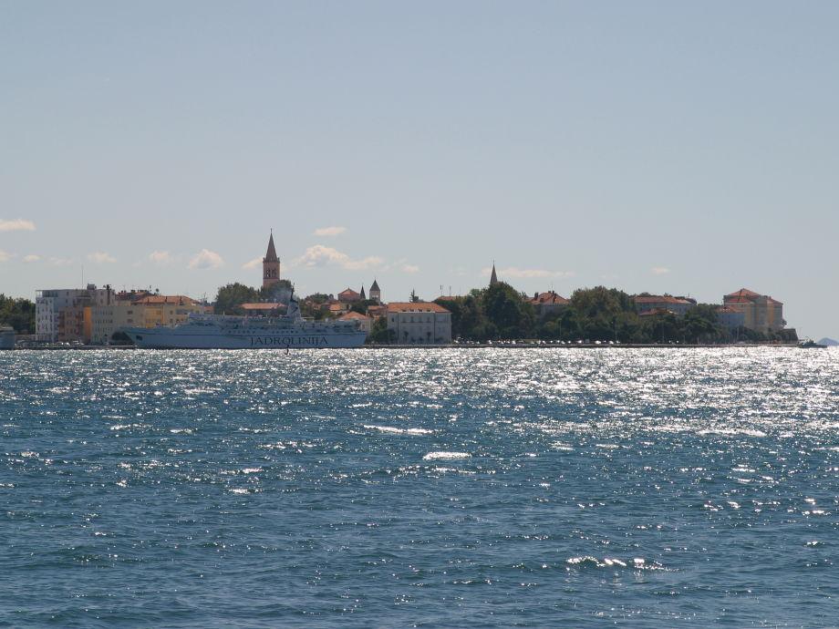 Aussicht von der Villa Punta auf die Altstadt von Zadar