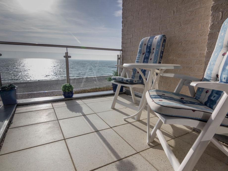 Blick vom Balkon auf den Südstrand