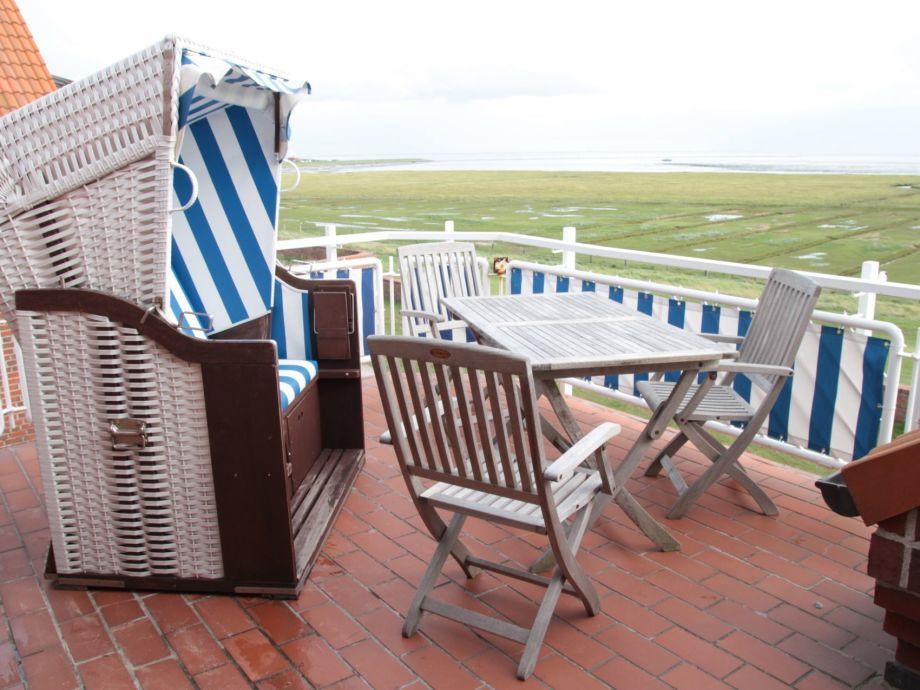 Balkon mit Blick auf das Wattenmeer