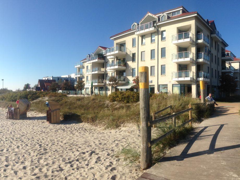 Sicht vom Strand auf die Strandburg